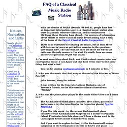 FAQ of a Classical Radio Station. With the demise of WQRS