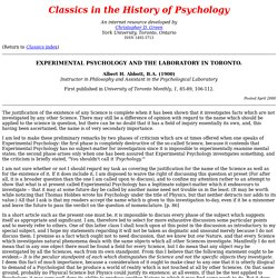 Classics in the History of Psychology
