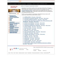 Library of Congress Classification Outline - Classification - Cataloging and Acquisitions (Library of Congress)