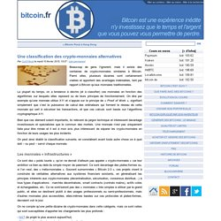 Une classification des crypto-monnaies alternatives - bitcoin