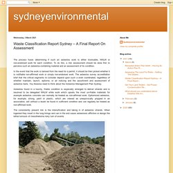 Waste Classification Report Sydney – A Final Report On Assessment