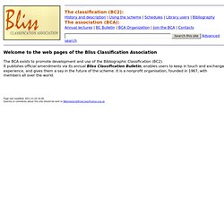 Bliss Classification Association - Bibliographic Classification - Home page