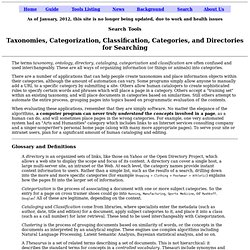 Taxonomies, Classification, Categorization - SearchTools.com Report