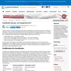 Classification des pays : les changements 2013