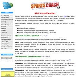 Skill Classification - Continuums