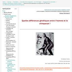 Enseigner Classification Evolution (ECEV): Les différences génétiques Homme/Chimpanzé