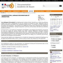 Classification, langage documentaire et indexation