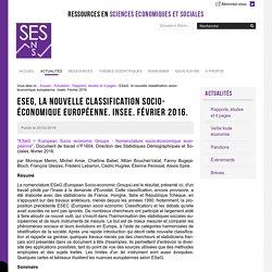 Q11 : ESeG, la nouvelle classification socio-économique européenne. Insee. Février 2016.