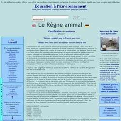 Le Règne animal, classification des animaux : espèces, familles, ordres, classes, embranchements