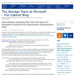 Automatically uploading files from File Server to SharePoint using the File Classification Infrastructure (FCI) - The Storage Team at Microsoft - File Cabinet Blog
