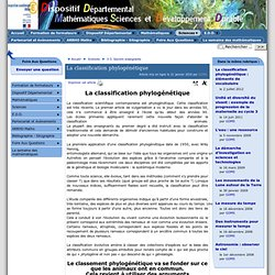 La classification phylogénétique - [ ]