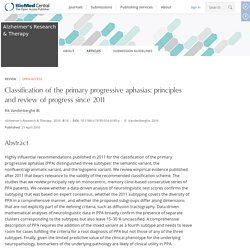Classification of the primary progressive aphasias: principles and review of progress since 2011