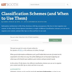 Classification Schemes (and When to Use Them)