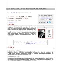 Umberto Eco : Le processus sémiotique et la classification des signes