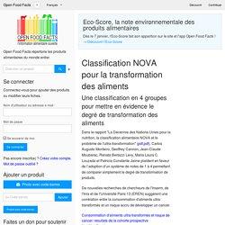Classification NOVA pour la transformation des aliments