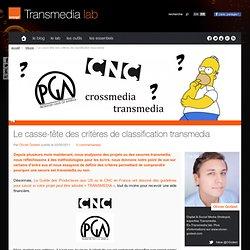 Le casse-tête des critères de classification transmedia