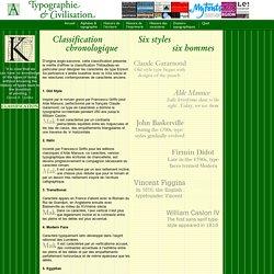 Classification chronologique des caractères typographiques
