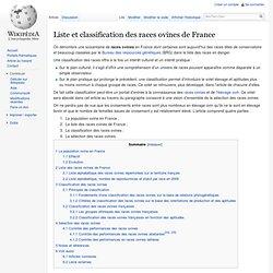 Liste et classification des races ovines de France