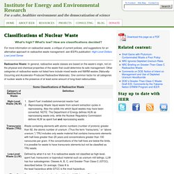 Classifications of Nuclear Waste - Institute for Energy and Environmental Research