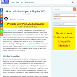 How to Embark Upon a Blog for SEO - Free Classified Advertisement India Worldwide