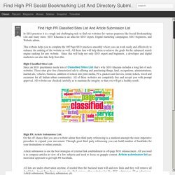 Find High PR Classified Sites List And Article Submission List