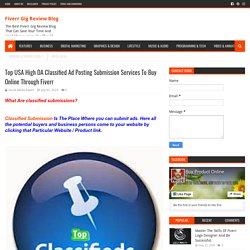 Top USA High DA Classified Ad Posting Submission Services To Buy Online Through Fiverr - Fiverr Gig Review Blog