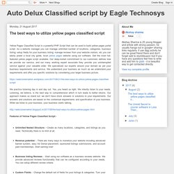 Auto Delux Classified script by Eagle Technosys: The best ways to utilize yellow pages classified script