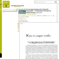 """Un ouvrage classique de la """"Nouvelle Géographie"""" : la Géographie théorique de William Bunge"""