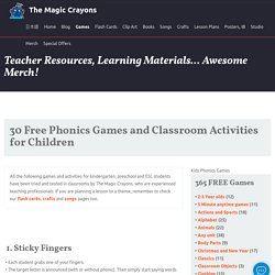 Free classroom phonics games and activities for children.