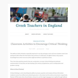 Classroom Activities to Encourage Critical Thinking – Greek Teachers in England