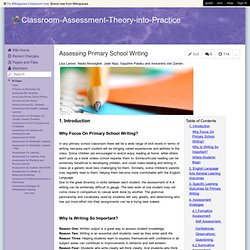 Assessing Primary School Writing