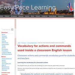 Classroom actions commands vocabulary students and teachers