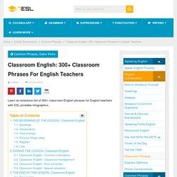 Classroom English: 300+ Classroom Phrases For English Teachers
