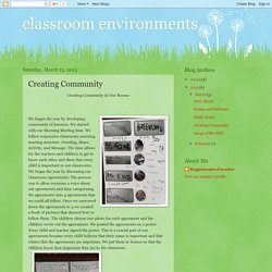 classroom environments: Creating Community
