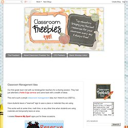 Classroom Freebies Too: Classroom Management Idea