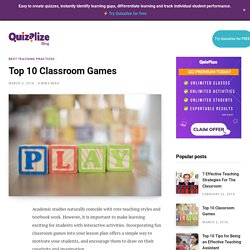 Top 10 Classroom Games - Quizalize Blog