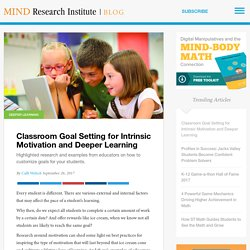 Classroom Goal Setting for Intrinsic Motivation and Deeper Learning