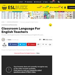 Classroom Language For English Teachers