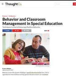 Behavior and Classroom Management in Special Education