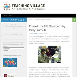 Choice in the EFL Classroom (by Vicky Saumell)