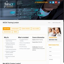 MCSA Training London by Impact I Training Call 02086178466