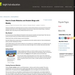 Create Free Classroom Websites and Student Blogs With Weebly for Education