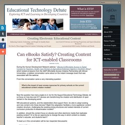 Can eBooks Satisfy? Creating Content for ICT-enabled Classrooms