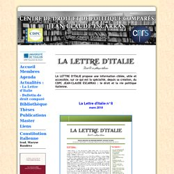 La lettre d'Italie - CDPC Jean-Claude Escarras