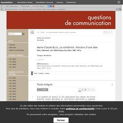 Marie-Claude Blais, La solidarité. Histoire d'une idée