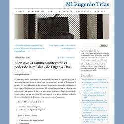 El ensayo «Claudio Monteverdi: el poder de la música» de Eugenio Trías