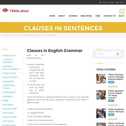 English grammar - clauses in sentences. - Waylink English