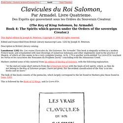 Clavicules du Roi Salomon, Livre Quatrieme (Lansdowne MS 1202)