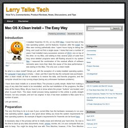 Mac OS X:Clean Install - The Easy Way - Larry Talks Tech