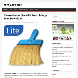 Clean Master Lite APK Android App Free Download - Free Apps File